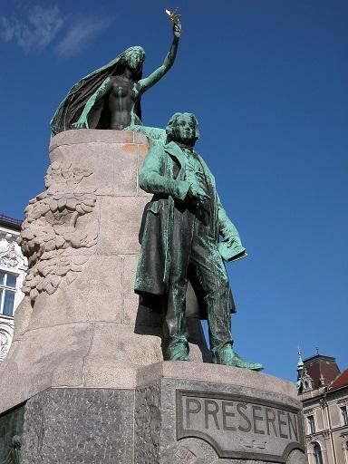 פסל פרשרן בכיכר המרכזית בליובליאנה